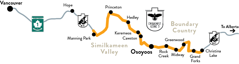 Map of Crowsnest Highway 3